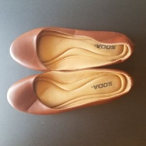 2/$25 Soda Cushioned Brown Ballet Flats Size 8.5